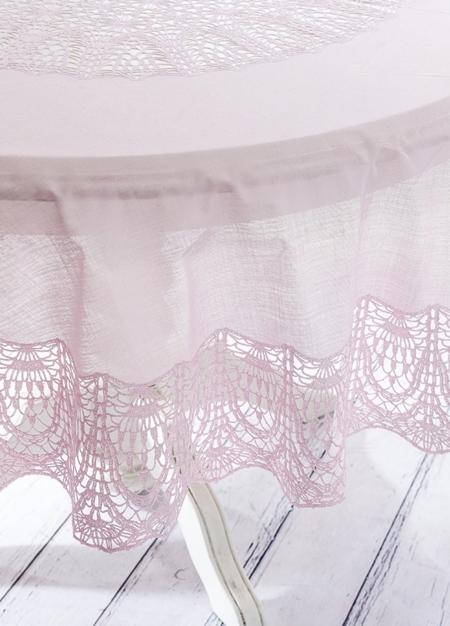 Скатерть круглая розовая (178 см)