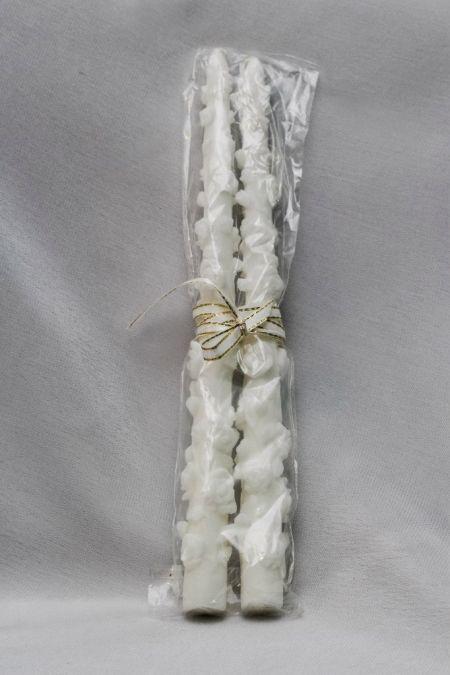 Свечи белые с розочками