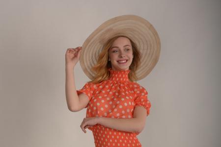 Шляпа бежевая широкополая