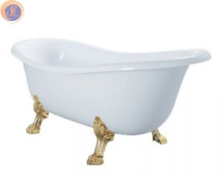 Белая ванная на золотых ножках