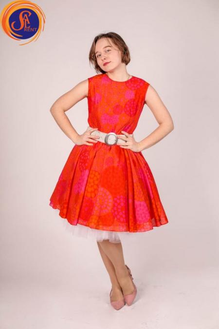 Платье красное в стиле 60-х