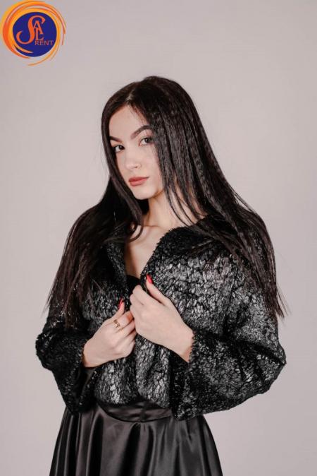 Платье черное атласное с шубкой