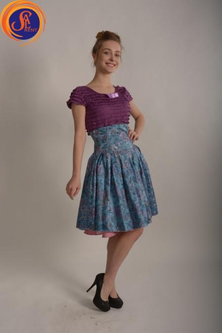 Юбка голубая и блуза фиолетовая 60-е
