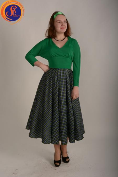 Юбка клетка зеленая и блуза зеленая 60-е