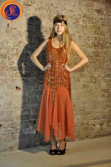 Платье оранжевое, пайетки, шифон 30-е