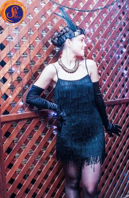 Платье черное, бахрома 30-е