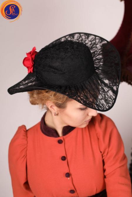 Шляпа черная гипюр 19 век