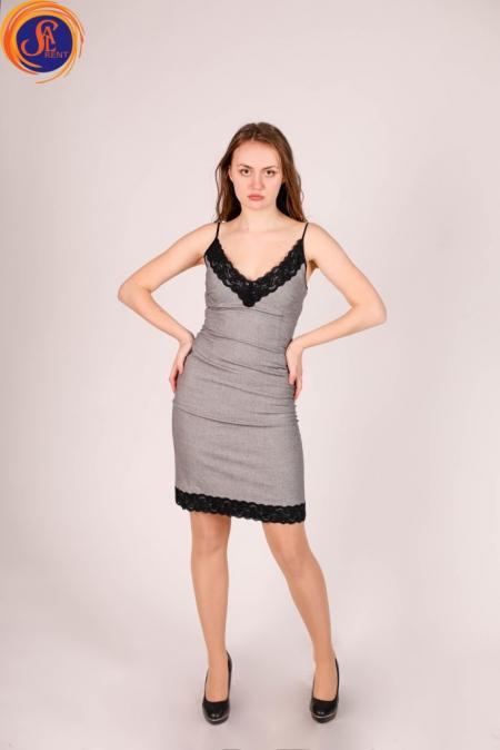 Платье серое на бретелях