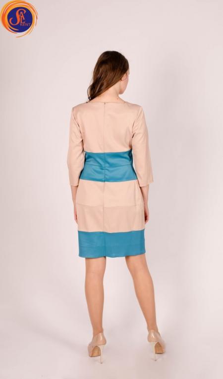 Платье бежево-голубое
