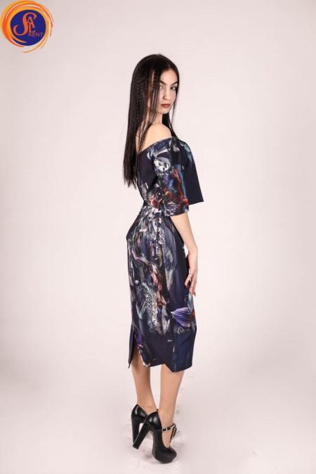 Платье темно-фиолетовое расписное